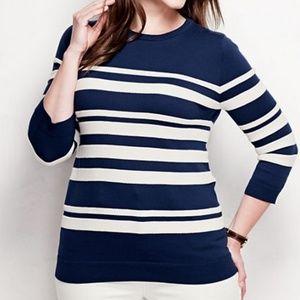 Lands End Supima Crewneck Sweater 1X Blue Stripe